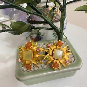Vintage Natasha Stambouli Semi Precious Stones ear
